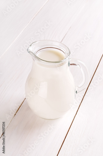 Milk in glass jug