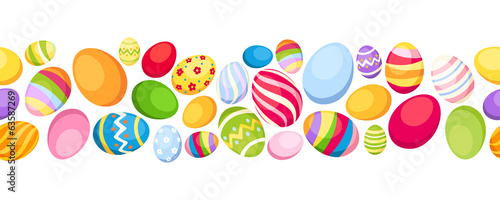Seamless horizontal background with colorful Easter eggs.