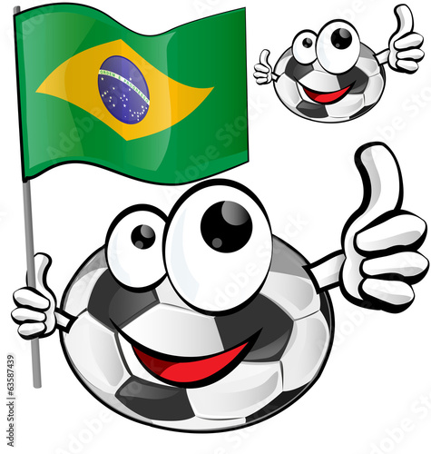 soccer ball cartoon with brazilian flag