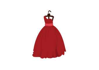 vector illustration of a beautiful  red wedding dress