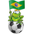 frog cartoon with soccer ball