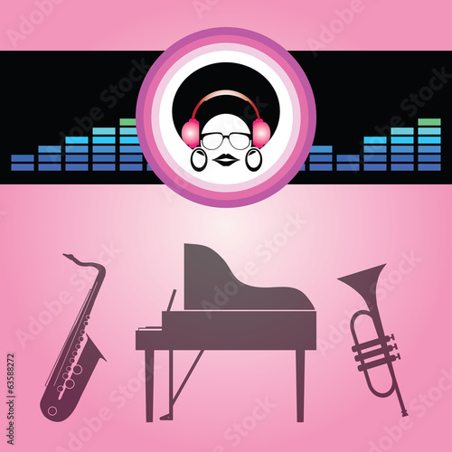 afro lady listen soft music vector