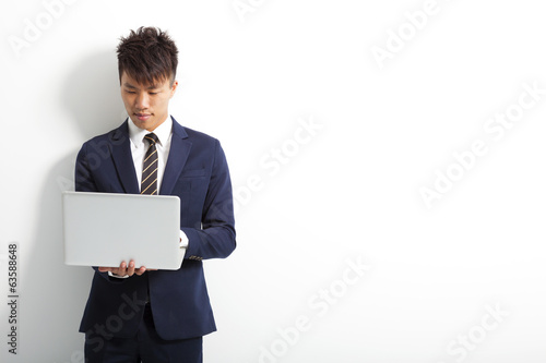 asian business man with laptop