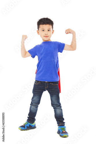 super kid hero raise arms