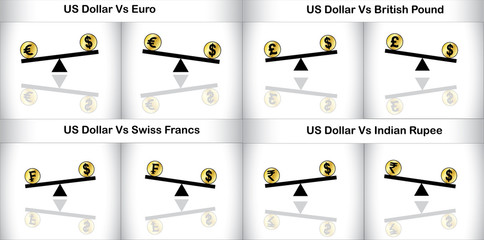 Concept Illustration of Global Forex Trading major currencies