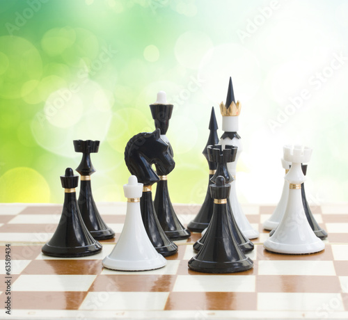 set of black and white chess