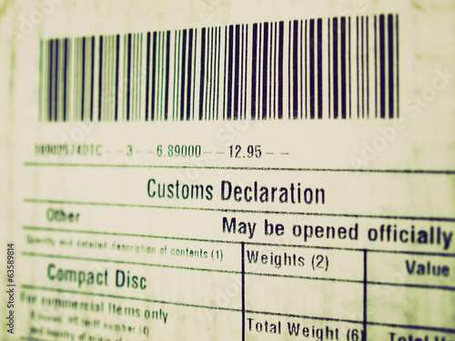 Retro look Customs declaration