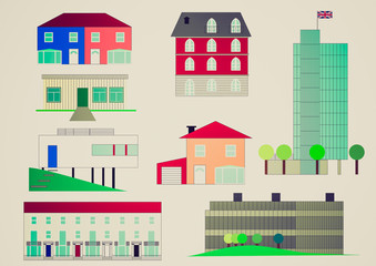 Retro look Houses illustration