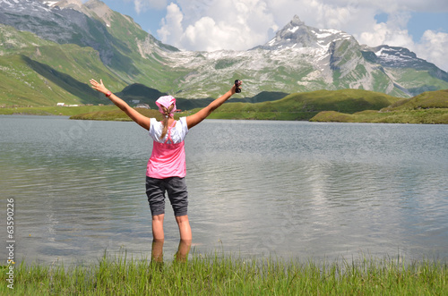 Girl at the mountain lake, Switzerland