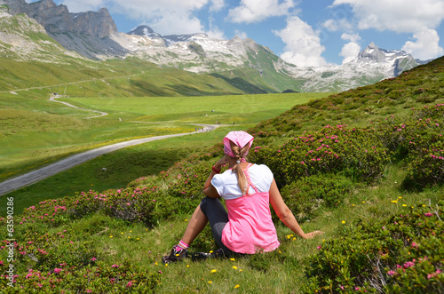 Traveler on the hill. Melchsee-Frutt, Switzerland