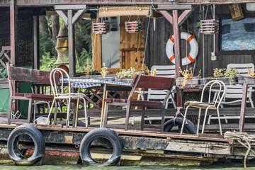 Old Derelict Wooden Summer Leisure Raft Hut On Sava River - Porc