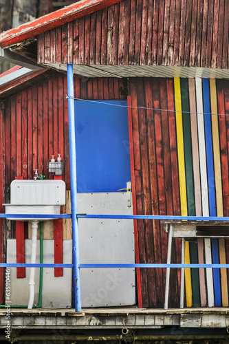 Old Multicolored Wooden Tilted Summer Leisure Raft Hut On Sava R