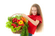 Beautiful little girl with vegetables