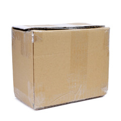 brown cardboard box sealed with tape