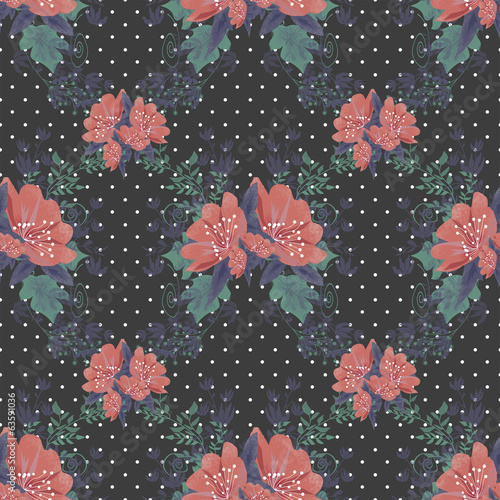 Seamless floral pattern on black dotted