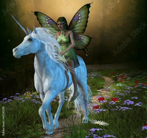 Foto op Plexiglas Draken Forest Fairy and Unicorn