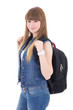 portrait of cute schoolgirl with backpack isolated on white