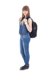 cute schoolgirl with backpack isolated on white