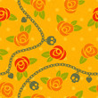 Roses, chains, skulls & hearts on polka dot orange pattern.