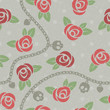 Roses, chains, skulls & hearts on polka dot gray pattern.