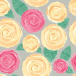 Background with blooming flowers. Pink and yellow roses.