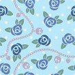 Roses, chains, skulls & hearts on polka dot blue pattern.