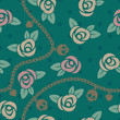 Roses, chains, skulls & hearts on polka dot green pattern.