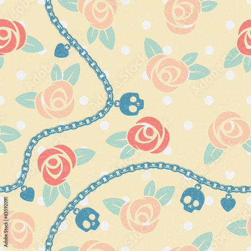Roses, chains, skulls & hearts on polka dot beige pattern.