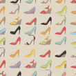 Lady's shoes colorful pattern. Beige polka dot background.