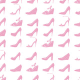 Seamless lady's shoes light pattern. Pink and white colors.