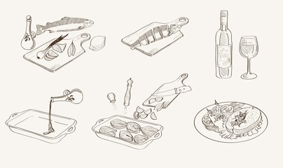 vector process fish cooking sketch