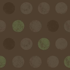 Seamless pattern of scribbled circles in brown and green.