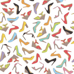 Seamless lady's shoes colorful pattern. White background.