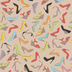 Seamless lady's shoes colorful pattern. Beige background.
