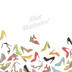 Lady's shoes colorful background. Shoe madness.