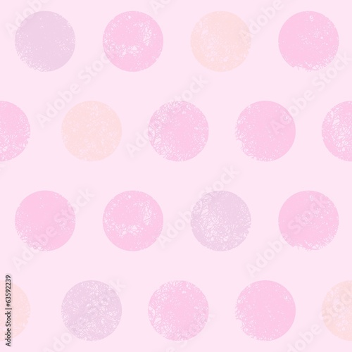 Seamless pattern of scribbled circles in shades of light pink.