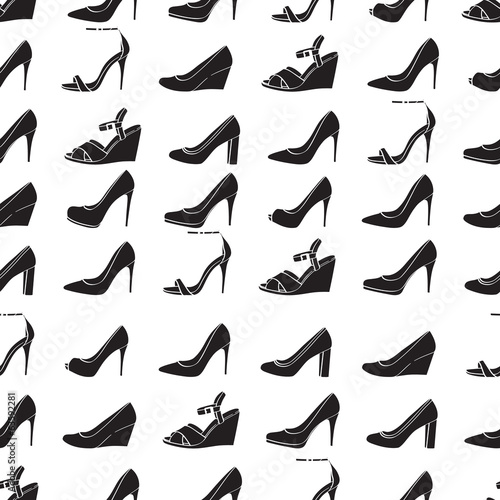 Seamless lady's shoes black and white pattern.
