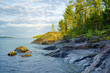 Stony shore of Ladoga lake