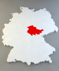 Mappa Germania, regione tedesca, Thüringen