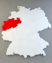 Mappa Germania, regione tedesca, Nordrhein-Westfalen