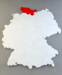 Mappa Germania, regione tedesca, Schleswig-Holstein