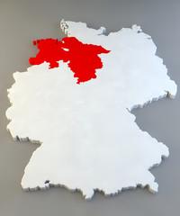 Mappa Germania, regione tedesca, Niedersachsen