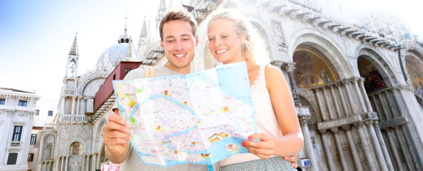 Travel banner, couple reading map in Venice, Italy