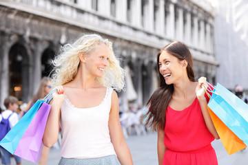 Shopping women happy holding shopping bags, Venice