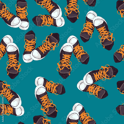 Grey sneakers on green and blue background. Vector illustration