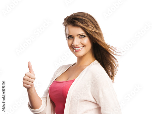 canvas print picture Woman with thumbs up