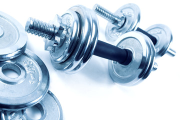 Weights or dumbbells.Sport objects
