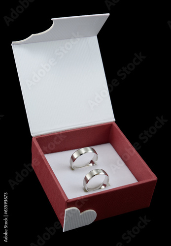 Wedding rings on box