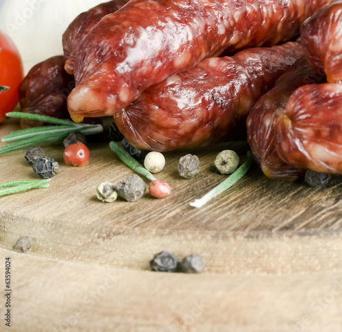 Smoked sausage with rosemary and peppercorns
