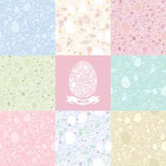 Eight Versions Easter Seamless Pattern in Pastel Shades
